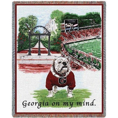 Georgia on my mind University of GA Bulldogs blanket with Athens campus locations.