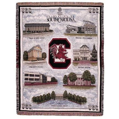 South Carolina Gamecocks tapestry blanket with campus locations.