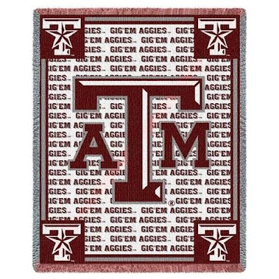 Aggies Texas A&M blanket red and white blanket with logos.