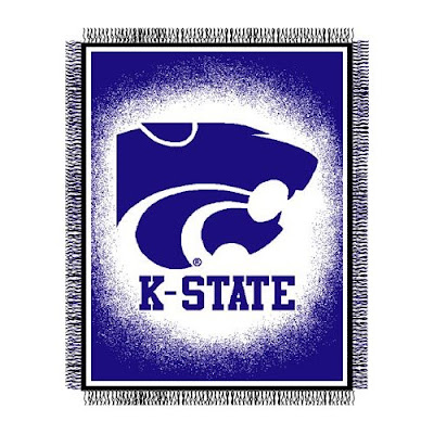 KSU blanket that is purple and white.