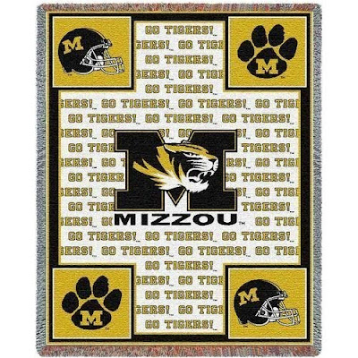 White Mizzou Tigers football blanket with gold trim.