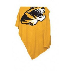 University of Missouri (MU) Tigers gold sweatshirt blanket with black Truman the Tiger logo.