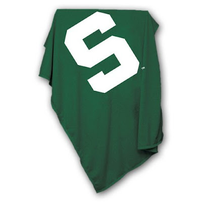 Michigan State University Spartans green sweatshirt blanket.