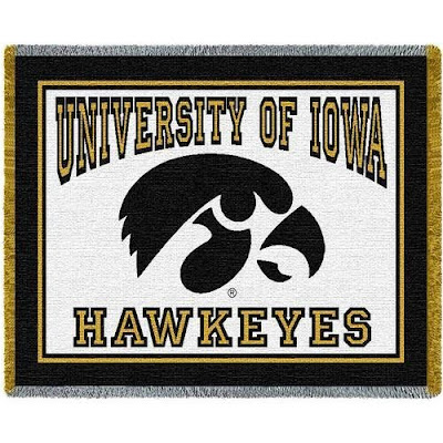 White University of Iowa Hawkeyes throw blanket.