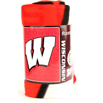 University of Wisconsin Badgers fleece blanket that is white and red.