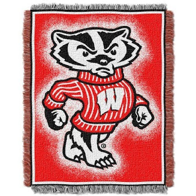 Wisconsin Badgers red throw blanket with Bucky the Badger.