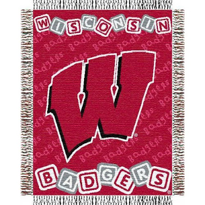 Red Wisconsin Badgers baby blanket.