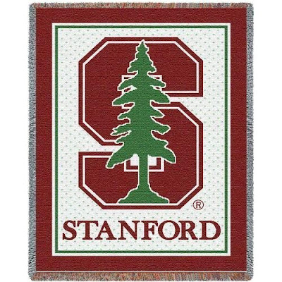 Stanford Cardinal white blanket with green tree mascot.