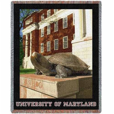 U of Maryland Terps tapestry blanket with Testudo on campus statue.