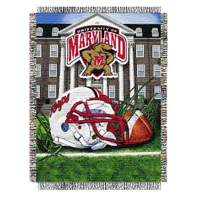 Maryland Terrapins football tapestry blanket.