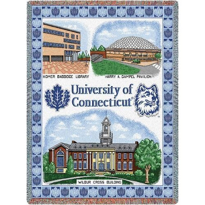 University of Connecticut tapestry blanket with campus landmarks including Homer Babbidge Library, Harry Gampel Pavilion, and Wilbur Cross Building.