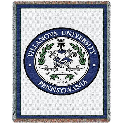 Villanova (Nova) University Wildcats seal on a white throw blanket.