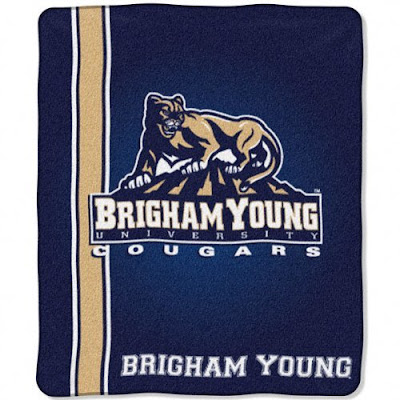 Brigham Young University Cougars blanket.