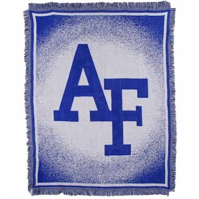 Air Force Falcons blanket that is white and blue.