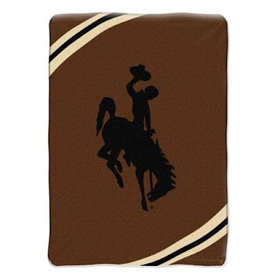 University of Wyoming brown fleece blanket.