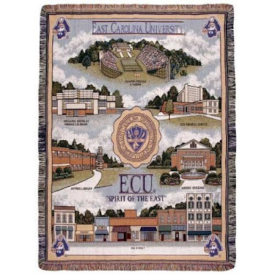 East Carolina University (ECU) Tapestry blanket with campus landmarks.