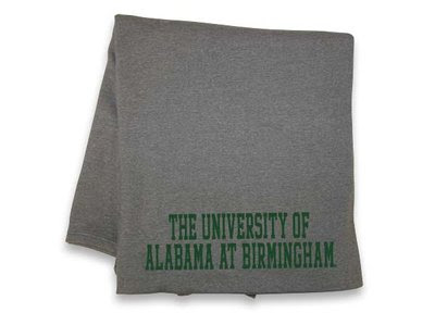UAB Blanket that is gray and green.