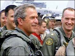 G.W. Bush on aircraft carrier Abram Lincoln on May 1, 2003