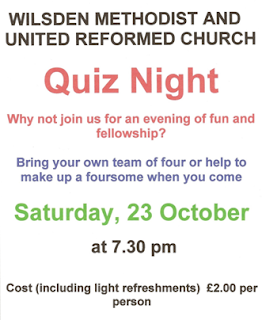 Quiz Night 7.30 pm 23 October at Wilsden Methodist and United Reformed Church £2