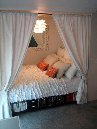 from apartment therapy    go there to see easy diy instructions for  creating your very own adorable bed nook. pretty things  design  bed nooks