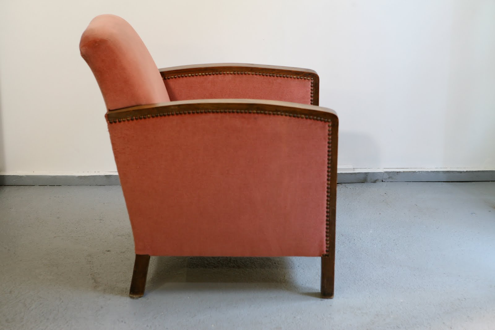 Baos fauteuil club art d co en velours rose - Fauteuil annee 30 art deco ...