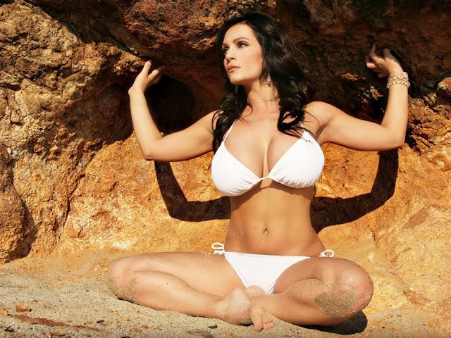 Sexy White Bikini Denise Milani