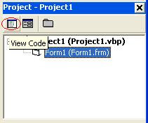 Click Viw Code Button on VB Project Explorer Window's Toolbar