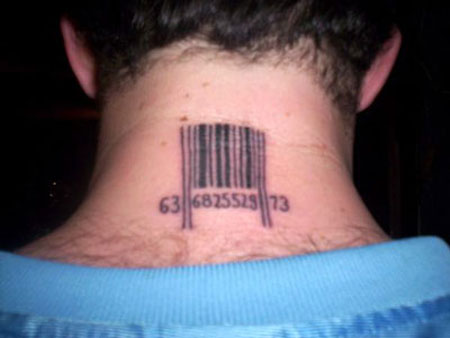 tattoos for girls on neck. barcode tattoos for girls.