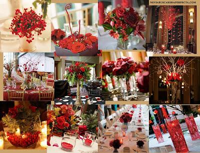 bodas en rojo y blanco: decoración del banquete