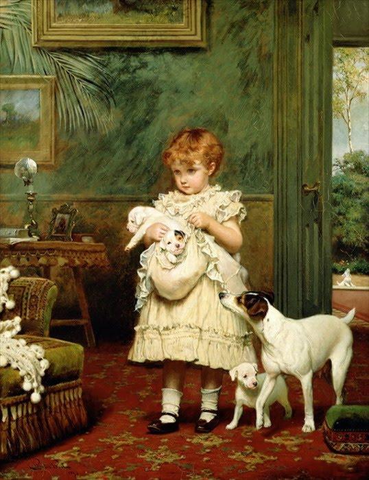 Adorables caritas de niños. Pintor+Charles_Burton_Barber