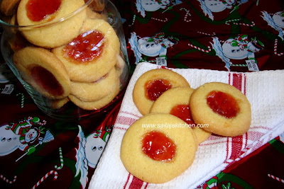 images for Eggless Jam Biscuits / Jam Biscuits / Jam-Filled Thumbprint Cookies / Eggless Custard Thumbprint Jam Cookies