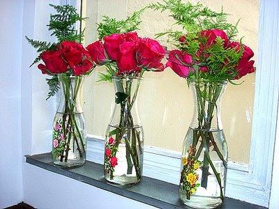 garrafas Como decorar a casa com flores.