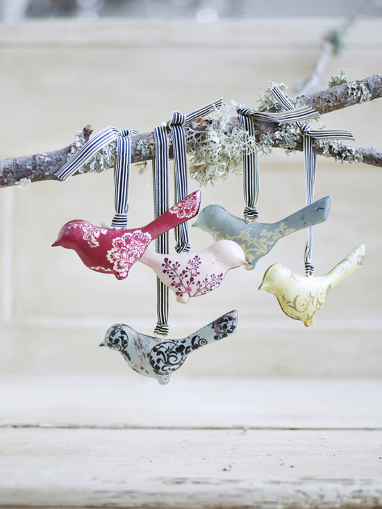 decoracao alternativa de casas:Vintage Bird Christmas Ornaments
