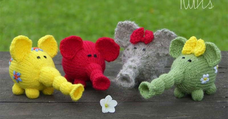 Twins Knitting Pattern MiniShop: Flower Power Elephants - free knitting ...