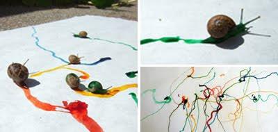 Pintando con caracoles y pintura de colorante alimenticio