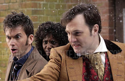 The Doctor looks rather shocked at something and David Morrisey's character is holding his arm out. But what's in his hand? Sonic screwdriver?