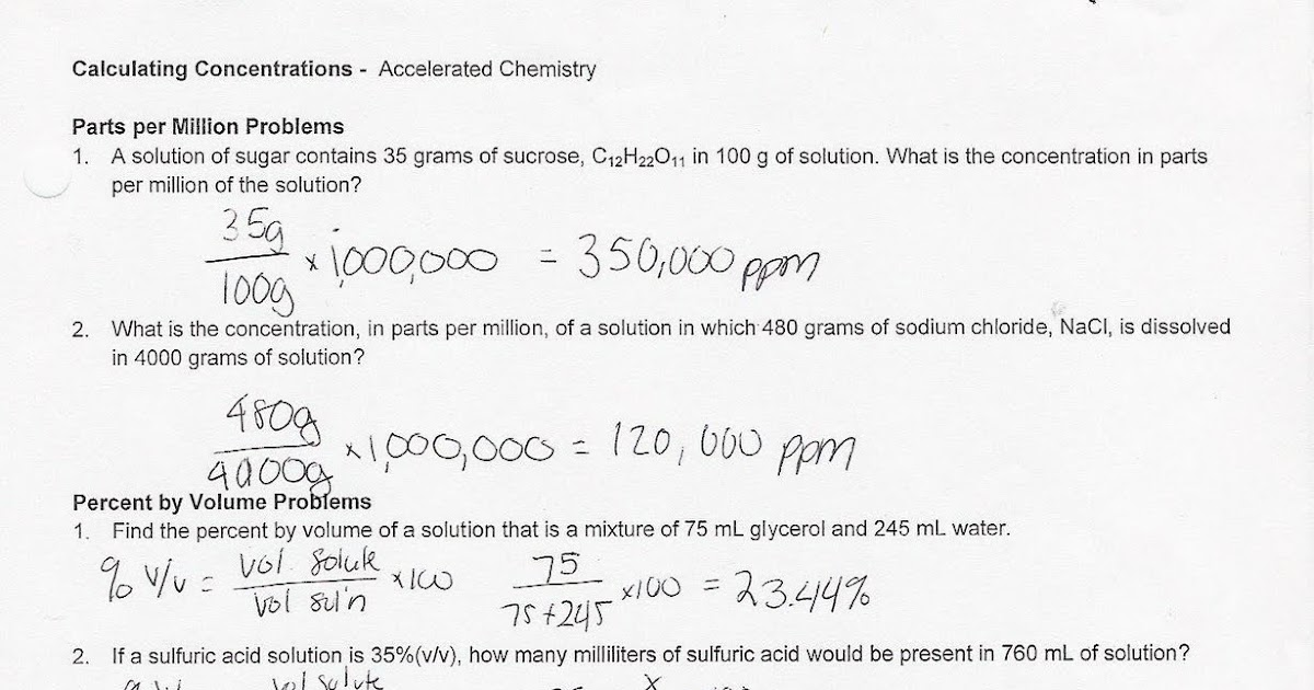Accelerated Chemistry Concentration Worksheet – Concentration Worksheet