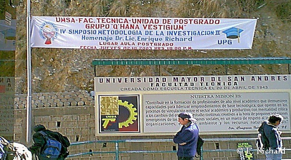 IV SIMPOSIO DE METODOLOGÍA DE LA INVESTIGACIÓN CIENTÍFICA - UMSA (La Paz, Bolivia) 2003
