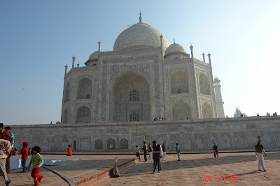The Taj with its foundation