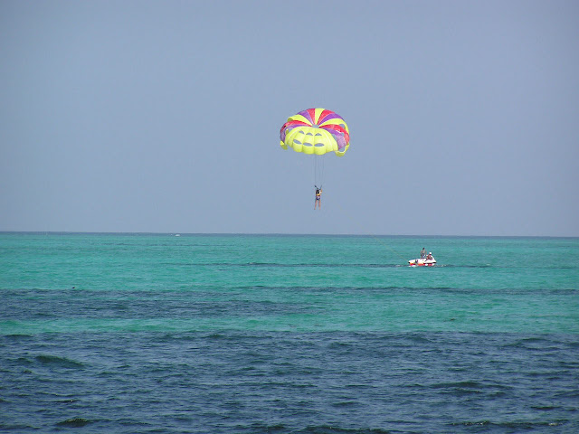 Person on a parasail just about to land in the water off the Lakshadweep islands