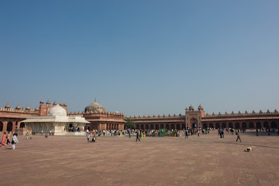 A side view of the large open square in Fatehpur Sikri