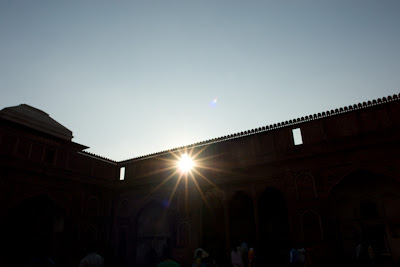 Sun blazing through a gap in the Agra Fort
