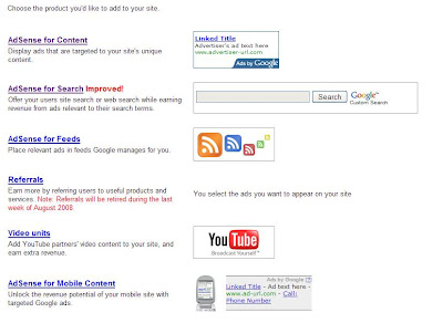 Various ad options present with Google Adsense