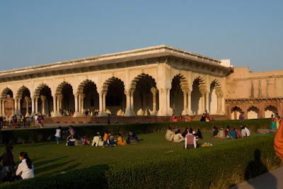 The assembly hall in Agra Fort and people around it