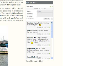 The Shoutbox chat client on a blog