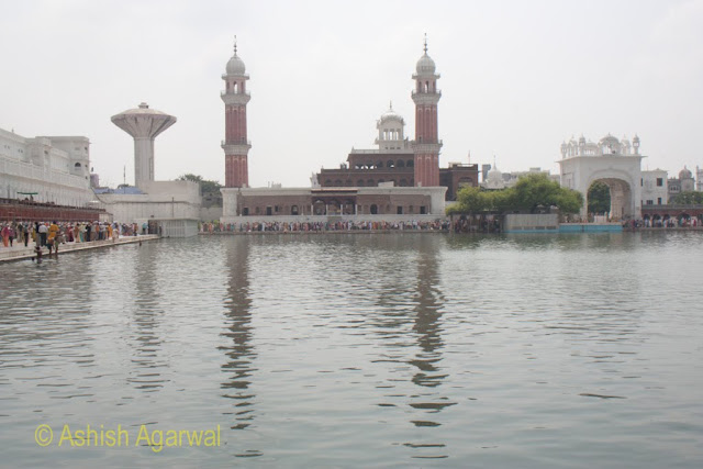 The twin towers of the Ramgarhia Bunga inside the Golden Temple  complex across the sarovar in Amritsar