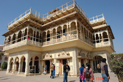 Isometric view of central building in the Jaipur City Palace in the state of Rajasthan India
