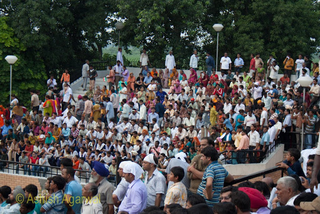 A bigger cross section of the crowd on the other stadium at the Wagah Border between India and Pakistan