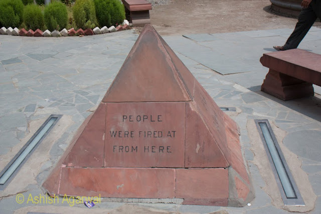 The stone mark in Jallianwala Bagh, marking the spot from where soldiers fired on protesters in 1919