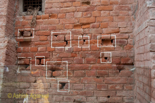 More bullet marks on one of the walls in the Jallianwala Bagh in Amritsar